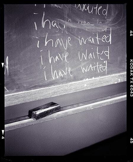 "Kodak-framed photo of five lines of messy ""i have waited"" sentences"
