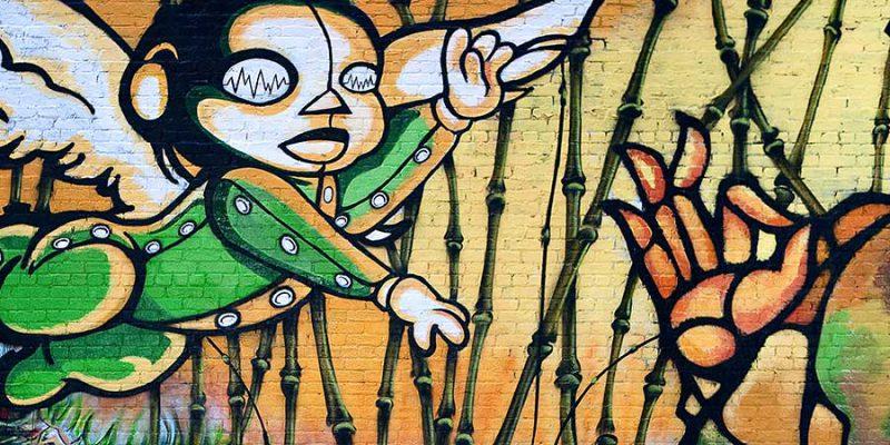 Colourful block-long graffiti from the 2009 Brooklyn, New York, Art Under the Bridge Festival