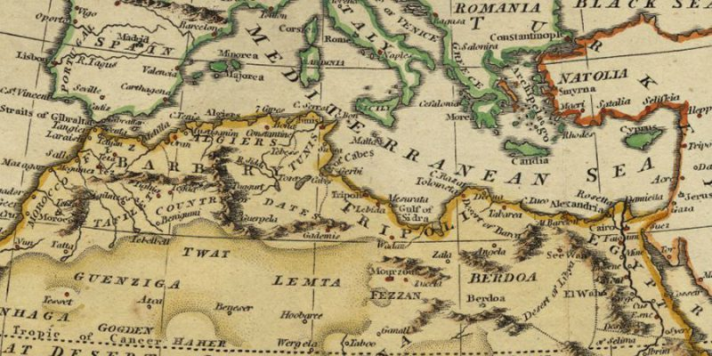 1808 antique map image of North Africa and Southern Europe
